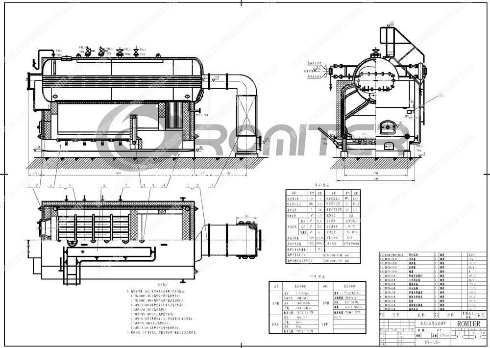DZH-Moving-Grate-Coal-Fired-Steam-Boiler-Structure-Drawing